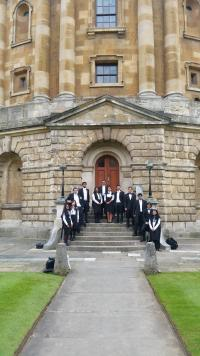 group on steps of radcliffe camera
